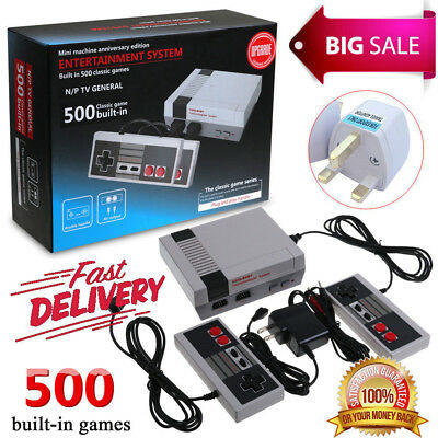 Retro TV Game Classic NES Console 8 Bit With 500 Built-in Games + UK Adapter NEW