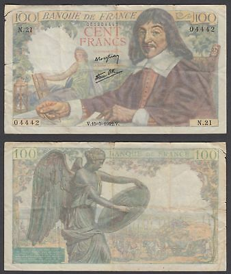 France 100 Francs 1942 (VG) Condition Banknote P-101