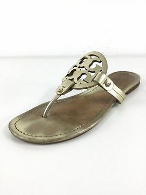 d4528e296 R28 TORY BURCH Miller Spark Gold Leather Thong Sandals Women s Size ...