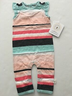 Burts Bees Baby Girl Organic Coverall Size 3-6 Months Coral Mint Green Striped