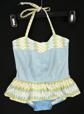 Vintage 60s Girls One-Piece Swimsuit Bathing Suit Swim Dress 3T Halter Geometric