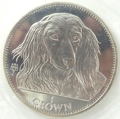 Sealed 1993 Gibraltar 1 Crown Long-Haired Dachshund Crown Coin - N901