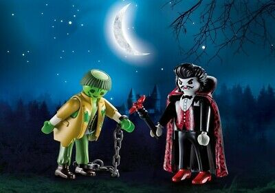 Playmobil Halloween Blister Pack #9307 Dracula and Zombie - New Factory Sealed