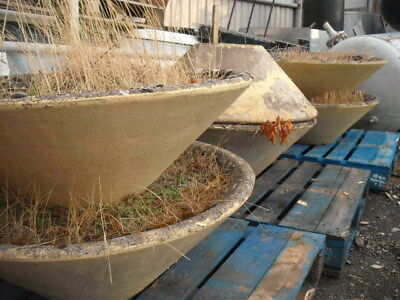 BRUTALIST VINTAGE 1970's CONCRETE & PEBBLE LARGE CONICAL GARDEN PLANTERS ANTIQUE