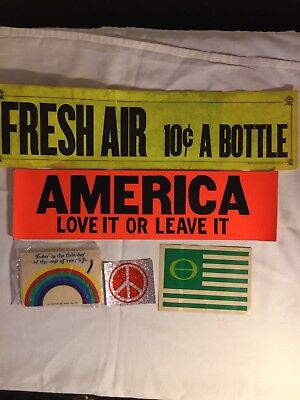 Fresh Air 10 Cents a bottle/Ecology/America Love It or Leave it /VTG new lot 5
