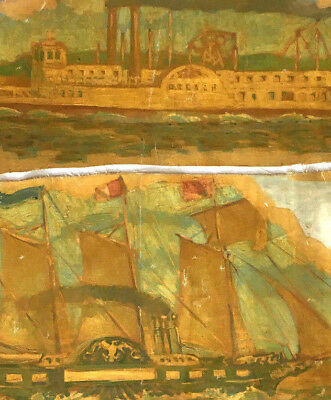 Pair Of Folk Art Paintings Of Ships With American Flags