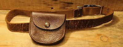 Vintage Wolf Cubs Canada Brown Leather Belt With Pouch Silver Buckle Scouts +