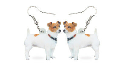"""Tan & White Jack Russell Dog 1"""" Drop Dangle Acrylic Earrings Very Light Weight"""
