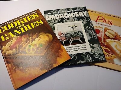 Vintage, Three Books, Better Homes And Gardens Cook/candies,pies,embroidery