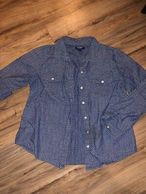 Old Navy Womens Size Large Button Up Top Jean Style Top With White Pocka Dots