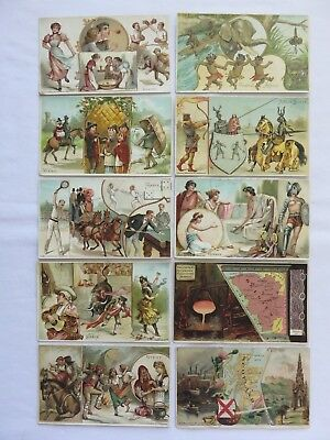 Lot of 10 Vintage Advertising Trade Card~Countries Central Africa, France, Spain