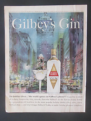 1961 Gilbey's Gin New York Park Ave Vintage Print Ad Art By Georgette de Lattre