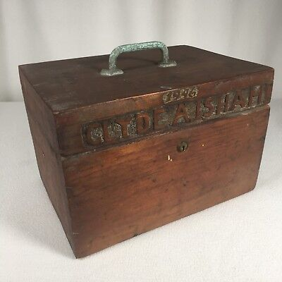 """Vintage Box Primitive Carved Locked Without Key Unopened Empty 1946 11""""x 7.5"""""""