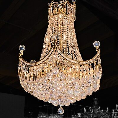 "SALE US BRAND French Empire 18 Light Gold Finish Crystal Chandelier 24X32"" LARGE"