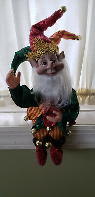 """14"""" Bendable Poseable Ornate Red Green & Gold Christmas Elf Jester Pixie ~ New"""