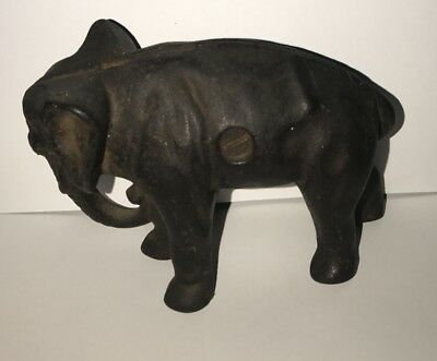 Antique Hubley Arcade Cast Iron Elephant Still Penny Bank trunk down