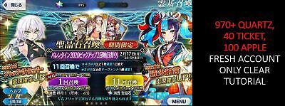 FGO Fate Grand Order Starter Quartz Account JP 970+ quartz 40 ticket 100 apple