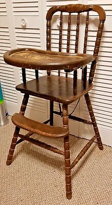 Antique Wooden Highchair With Feeding Tray Infant Wood Seat High