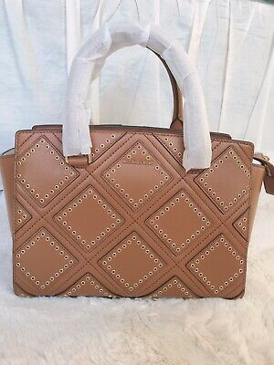 c8bd0e34e430 NWT $498 Michael Kors Diamond Grommet Luggage Selma Medium Satchel Leather  Bag
