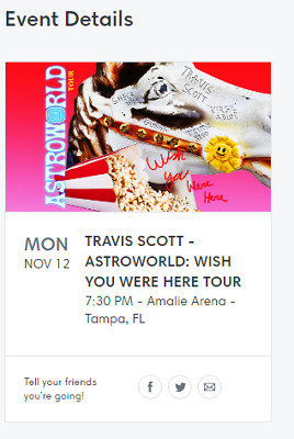 65c15c4b0dca TRAVIS SCOTT ASTROWORLD GA FLOOR - TAMPA FL Nov. 12 (TWO TICKETS ...