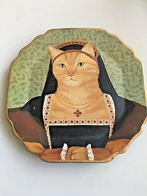 Decorative Ceramic Plate Ginger Cat Medieval Dress HAND PAINTED Home Decor 12""