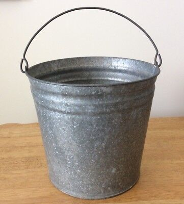 Vintage Galvanized Pail Bucket #14 Garden Decor