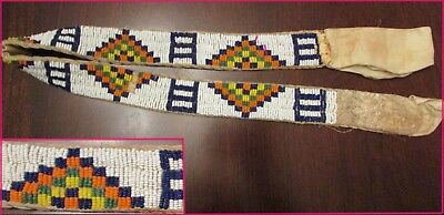 Antique / old LAKOTA / PLAINS LAZY STITCH BEADED BELT  brain tanned hide