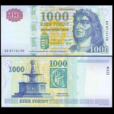 Hungria Hungary 1000 1,000 Forint, 2015, P-197-New, UNC, Banknotes