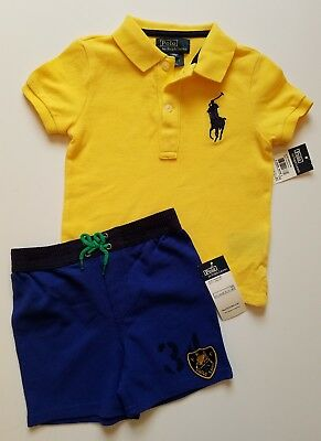 Ralph Lauren Baby Boy Set Outfit Polo Top  Blue Shorts 18 Months NWT