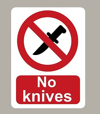 2 X No Knives Stickers Signs