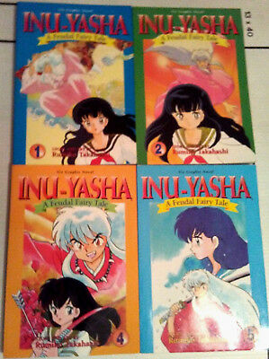 Lot 5 Rumiko Takahashi Graphic Novels Inu-Yasha Vol. 1 2 4 5 + Ranma 1/2 Vol. 9