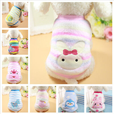 Cartoon Pet Puppy Cat Coats Warm Soft Fleece Dog Clothes for Small Dogs Clothing