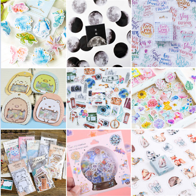46PCS Retro Stamps Stickers Kawaii Stationery DIY Scrapbooking Diary Stickers HS