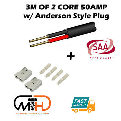 3 Metre 6mm Twin Core Automotive Auto Cable Pair Anderson Style Plugs