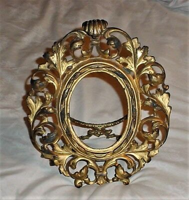 Antique Victorian Gold Tone Standing Cast Iron Picture Frame
