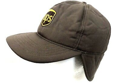 fdd454b6fb681 Like us on Facebook · Vintage United Parcel Cap UPS Hat Insulated Ear Flap  Cap Brown Faux Fur Lined XL