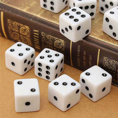 10pcs/set Six Sided Square Opaque 16mm D6 Dice White with Black Pip Die Fun NA