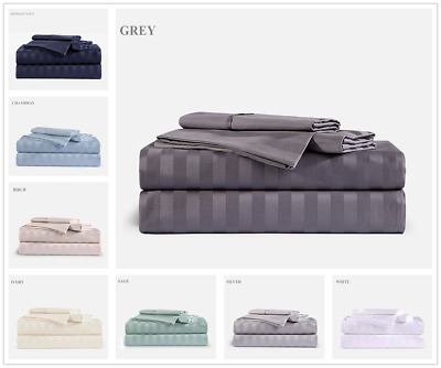 Bamboo 1800 Deep Pocket Striped Bed Sheet Sets Hypoallergenic & Soft All Sizes