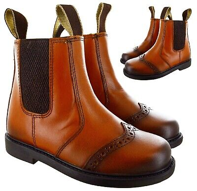 Unisex Kids Childrens Boys Girls Brogue Dealer Chelsea Boots Ankle Leather Shoes