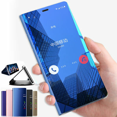 360° Flip Smart Case for Samsung Galaxy J6 A6 2018 Clear View Mirror Stand Cover