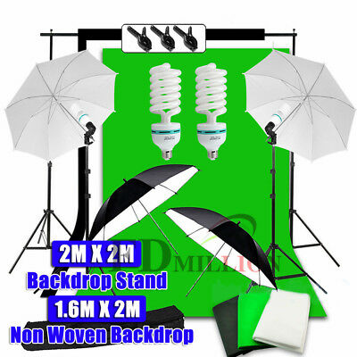 1350W Photo Umbrella Lighting Black White Green Screen Backdrop Light Stand Kit