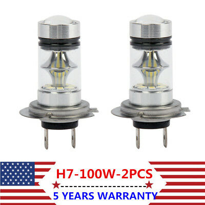 2X H7 100W Super Bright CREE LED Fog Tail Driving Car Head Light Bulb White Lamp