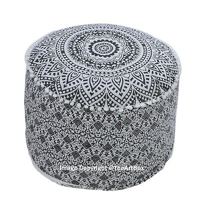 Indian Ombre Mandala Footstool Pouffe Cover Ethnic Round Ottoman Pouf Cover Art
