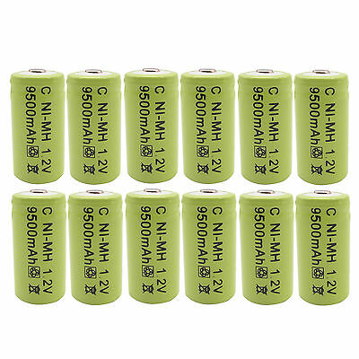 Charger 8 pcs C Size 9500mAh Rechargeable Battery RED US
