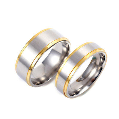 6/8mm Silver Brushed Wedding Bands for Women Men's Stainless Steel Couple Rings