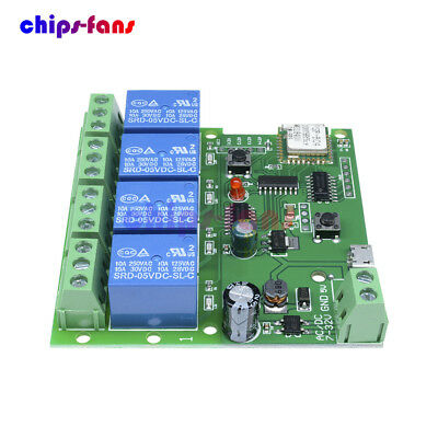 4 Channel DC 5V 7-32V WiFi Wireless Relay Delay Switch Control Module With APP
