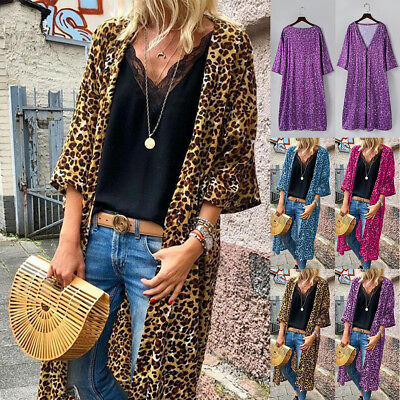 b5f9fbc5353 Women s Cardigan Boho Leopard Print Slim Fit Coverup Long Sleeve Tops  Outerwear