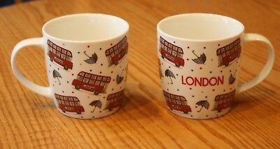 Colorful New Set Of 2 Milly Green London England Busses Mugs Double Decker Bus