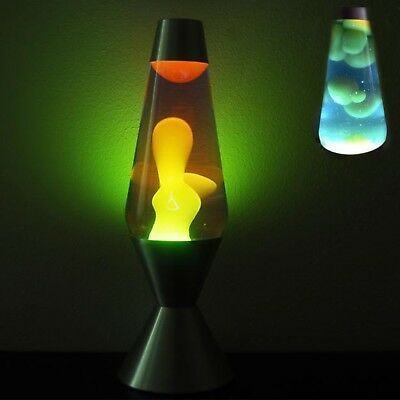 Lava Lamp Original Liquid Motion Night Light Silver Base Yellow Wax Blue Liquid