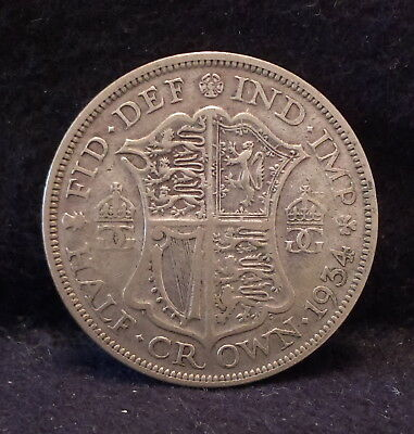1934 Great Britain silver half crown, 2'nd scarcest of the type, KM-835 (GB2)